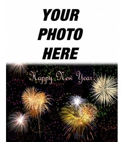 Christmas card we welcomed the new year in English. We can insert a photo on top of a night sky full of fireworks