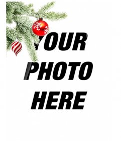 Postcard / Christmas picture frame where you put an image. Effect of enhanced curves on black background. In the foreground we see a Christmas tree branch hanging with two balls, one in the form of ice cream or tornado, is white and red spirals, is spherical and ending in a point. The other is blood red with snowflakes painted. Lightweight frame