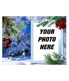 Reminder of Christmas. Your photo on a white rectangular frame, will be accompanied by branches of different types of conifers with Christmas decorations, such as red balls. In the background we have a snowy landscape with a house, a park and a large tree. Predominantly blue sky reflected in the snow.