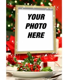 Christmas card to put a picture within a gilt frame with glitter effects and Christmas decoration