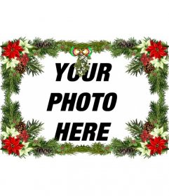 Photo frame with christmas tree ornaments that you can use as a Christmas greeting.