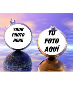 Funny Christmas photo effect where you can put two pictures on Christmas balls. Ideal to send as a greeting