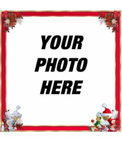 Christmas photo frame, qith red border and Christmas ornaments. You can use it as a greeting