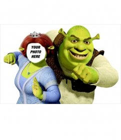 Photomontage of Fiona with Shrek where you can put your photo on the face of Fiona.