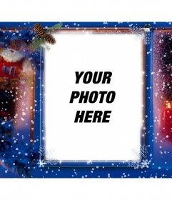 Beautiful christmas card personalized with your photo, background of snow, Santa Claus and candles.