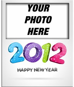 Put your photo card and congratulate the new year 2012, with numbers in color.