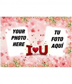 Valentine postcard to put two photos, with the text I LOVE YOU heart-shaped