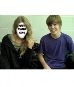 Photomontage of Justin Bieber with blonde girl. Upload your picture next to Justin,