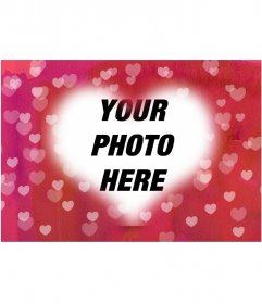 Heart photo photo frame to put your picture in the background. Pink background with many hearts. Ideal for lovers
