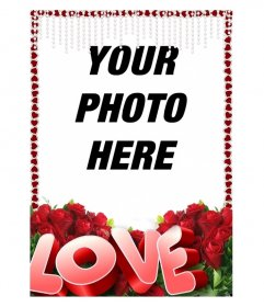 Frame photos of young hearts with the text Love and roses.