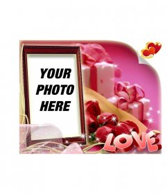 Valentine's Day box-shaped and pink background with the text LOVE