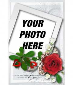 Card with shaped polaroid style and a rose, special for Valentine's day