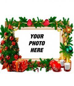 A frame for photos with Christmas decorations