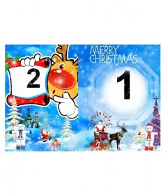 Seasons Greetings folding a card depicting a snowy landscape with fir trees and snowmen with a walled city in the background. Appears Santa Claus with gifts on both sides, Rudolf the Reindeer holding one of the frames in one and in the other we can include another picture under the Christmas greeting. Can be used as a personalized letter to Santa Claus.