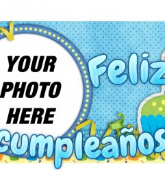 Postal customizable with a picture of someone. Wish a happy birthday with this card with a predominance of blue and holiday motifs. xxxWe have more variety within this page.