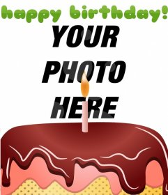 Customizable birthday card, consisting of a montage that includes a digitized photograph to your 'happy Birthay' in green, red cake with a candle and white circles in the background of the image.