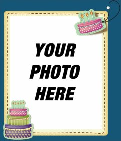 Edit a birthday card by adding a digital picture frame to this blue ...