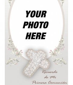 Template Communion memory card with a photograph