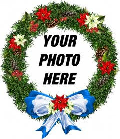 Photo frame Christmas ornament shaped round where you can put your background photo. To send by email.