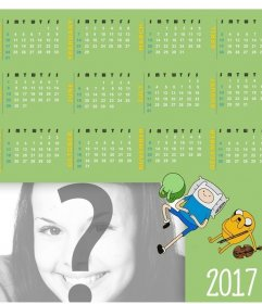 Calendar 2017 in English with a design of Adventure Time to add your photo
