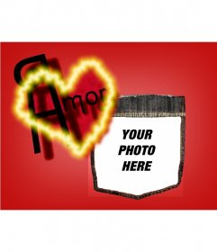 Post Valentine's background with a red heart. Personalize it with your photo.
