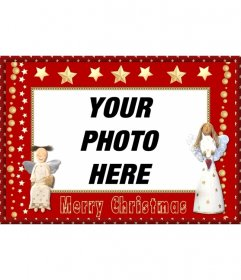 Christmas photo frame with angels and stars to send as a greeting.