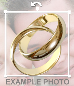 Sticker of a gold engagement rings