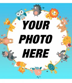 Cute frame for your photo with animal drawings.