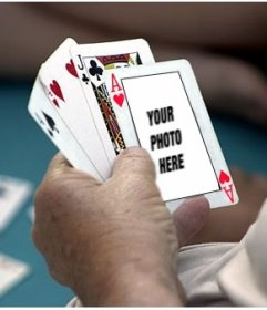 Photomontage to put your photo on an ace of hearts in a poker game.