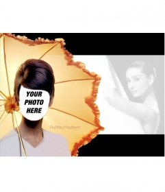 Photomontage of Audrey Hepburn in a famous image of him