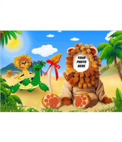 Photomontage of costume lion the king of the jungle.
