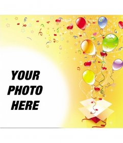 ... birthday party, yellow background with streamers, stars and balloons