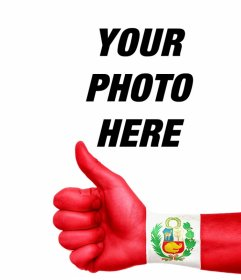 Your photo with one hand with thumb up and the flag of Peru painted