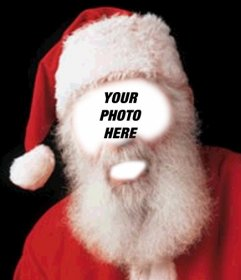 Photo montage of Santa Claus costume this Christmas. Put your face in the face of Santa Claus.
