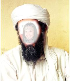 Photomontage of Osama Bin Laden, put your face in the public enemy number one of the United States.