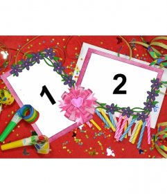 Frame for two pictures with motifs from birthday party, red background with candles,