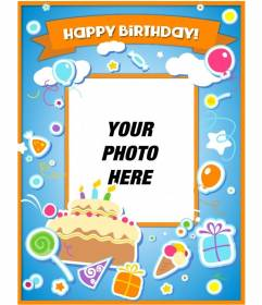 Birthday card to congratulate the birthday and put a picture online with a cake, balloons and gifts with sticker effect.