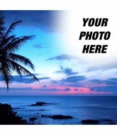 Sunset, with a blue sky in a landscape of idyllic coastline, where we see a large palm tree. We will make a collage in the sky of the landscape with a photograph that appears transparent to the edges to eliminate sharp edges and smooth effects. To remember someone special.