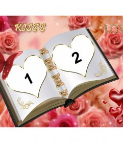 Customizable Photo Frame With Two Different Photos Book Of Love