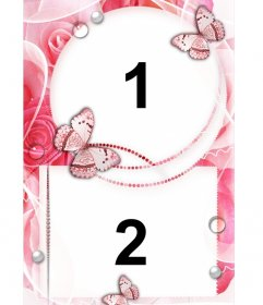 Frame for two photos of love with ornaments of roses and butterflies