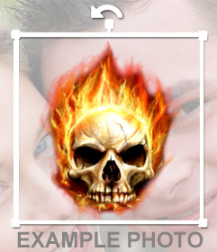 Photomontage of a skull on fire to put in your photo