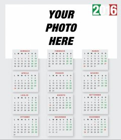 2016 Calendar to costumize with your photo
