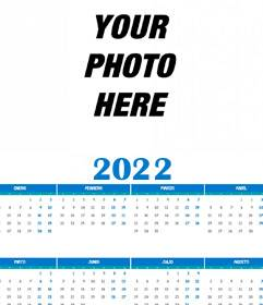 Calendar 2019 full year 12 months with your photo