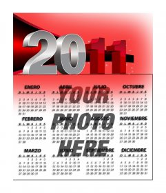 2011 Calendar of red, customizable with your photo