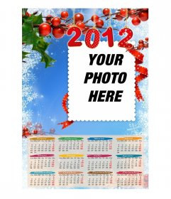 Calendar year 2012, with a blue background, snowflakes and mistletoe