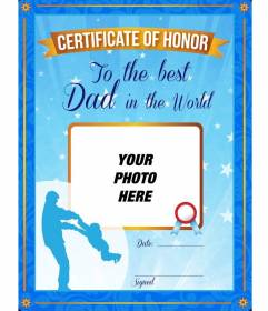 certificate of honor to the best father in the world a personalized
