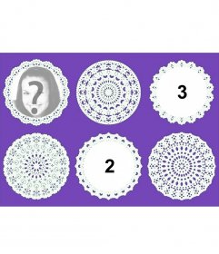 Collage with decorative circular lace circular to upload three pictures