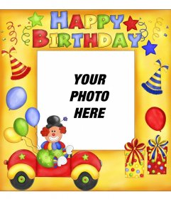 Happy Birthday Postcard with clown and balloons.