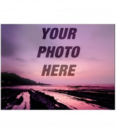Photomontage in which your photo appears as a collage in transparency on a beautiful sunset of purple tones on a coast where we can see mountains running into the sea and beach.