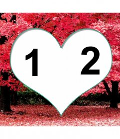 Frame for two photos inside a heart on cherry blossoms.